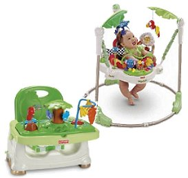Introduce baby to a place full of exciting sights and sounds and lots of safe jumping fun with the Fisher-Price Rainforest Jumperoo. Designed for use by a child who is able to hold his or her head up unassisted, and who is not yet able to climb out or walk, this baby jumper delights baby with interactive play options and stimulating movement to help encourage healthy development. Little explorers will also enjoy playing with the Jumperoo's many animals and toys, including a bobbling elephant, a monkey swinging from a vine, a parrot hanging from a bead bar, a clear spinning bead ball, a tiger that plays hide and seek, a spinning lizard that makes rattling sounds, a tethered chew toy, and a stack of chips with eye-catching graphics for baby to explore.  Keep baby safe and entertained at feeding times - Keeping active babies safely occupied. Encourage your youngster to explore his wild side and embark on tableside adventures while you prepare a meal. This rainforest-inspired booster seat is chock full of interesting activities and jungle pals to keep little hands busy prior to meal time. Three spinning bugs, a colorful parrot, monkey, frog and gecko slider beads are all eager to make eating fun for Baby. The booster also features: three height adjustments, a dishwasher-safe tray, a back that remove easily so an older child can use, plus a three-point restraint harness and straps for securing it to a chair.